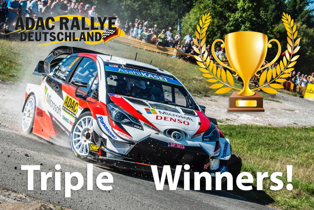 Ott Tänak ja Martin Järveoja tegid ajalugu ja võitsid Saksamaa ralli kolmandat aastat järjest – Toyotale kolmikvõit